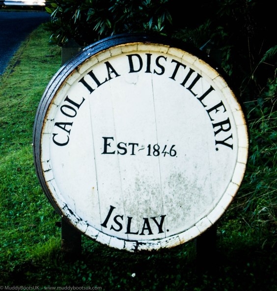Whiskey barrel at entrance to distillery