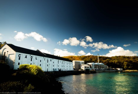 The distillery overlooking the Sound of Jura
