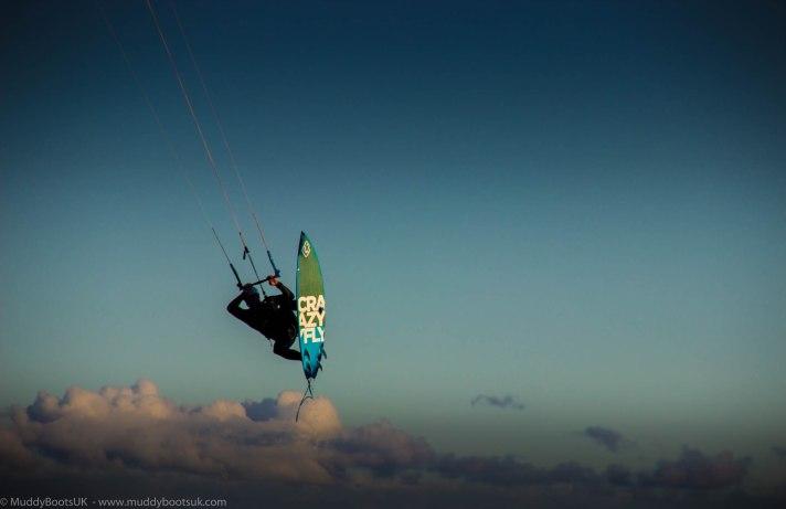 Willi from Fraserburgh, kite surfing at Kilnaughton Bay