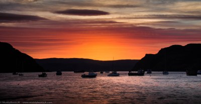 The sunrise over Portree Harbour