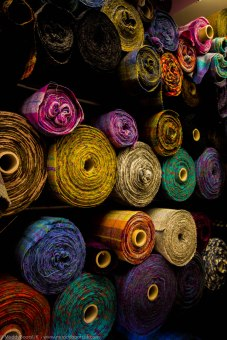 Vivid colours on the rolls of Harris Tweed
